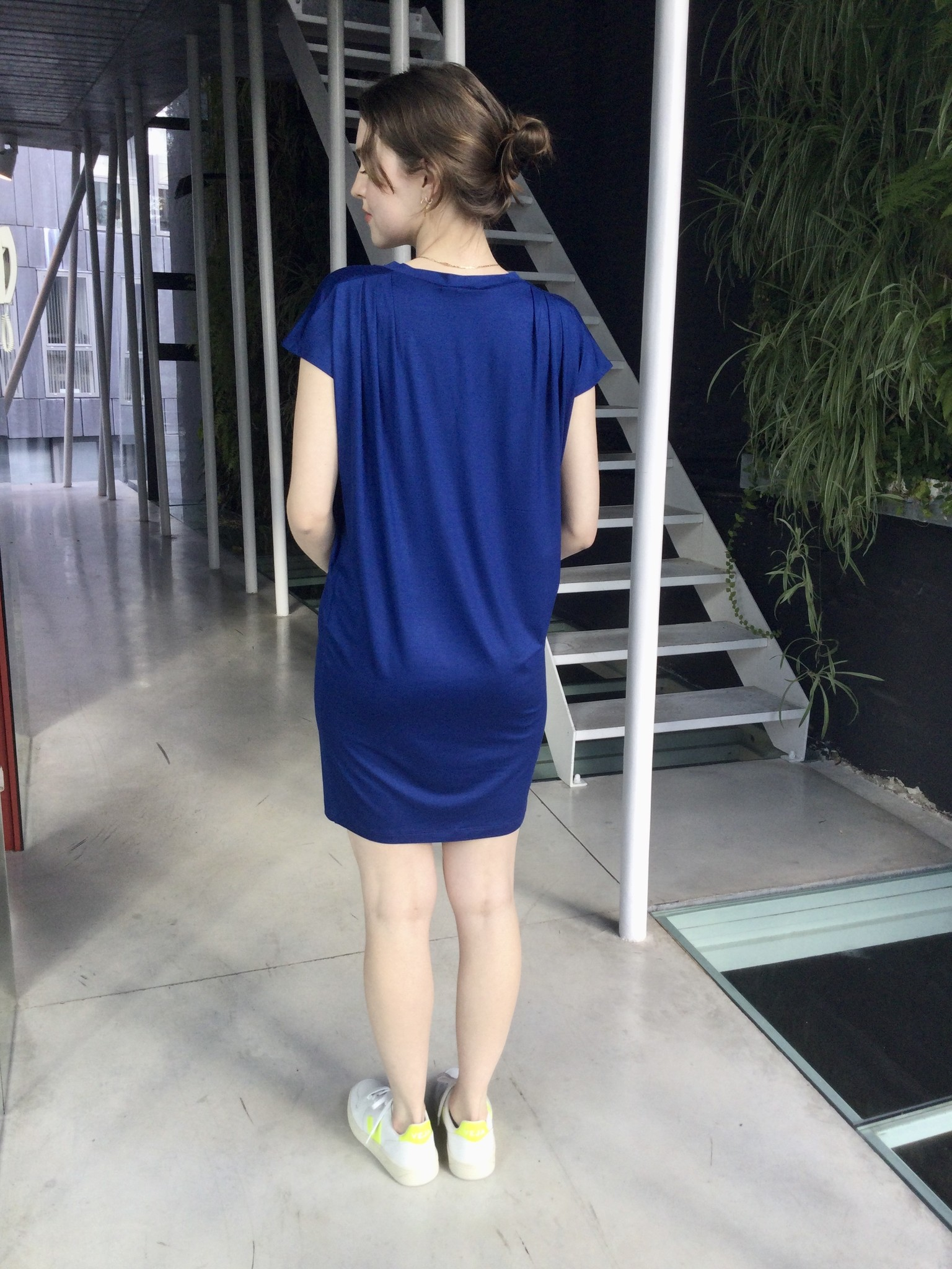 Pleated Shoulder Tunic Blue-3