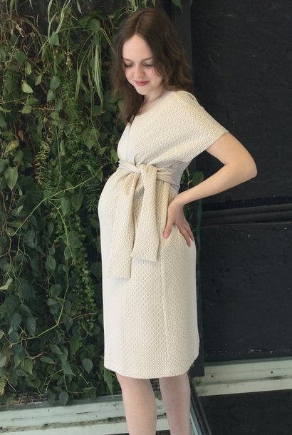 Belt Dress Ecru Pattern