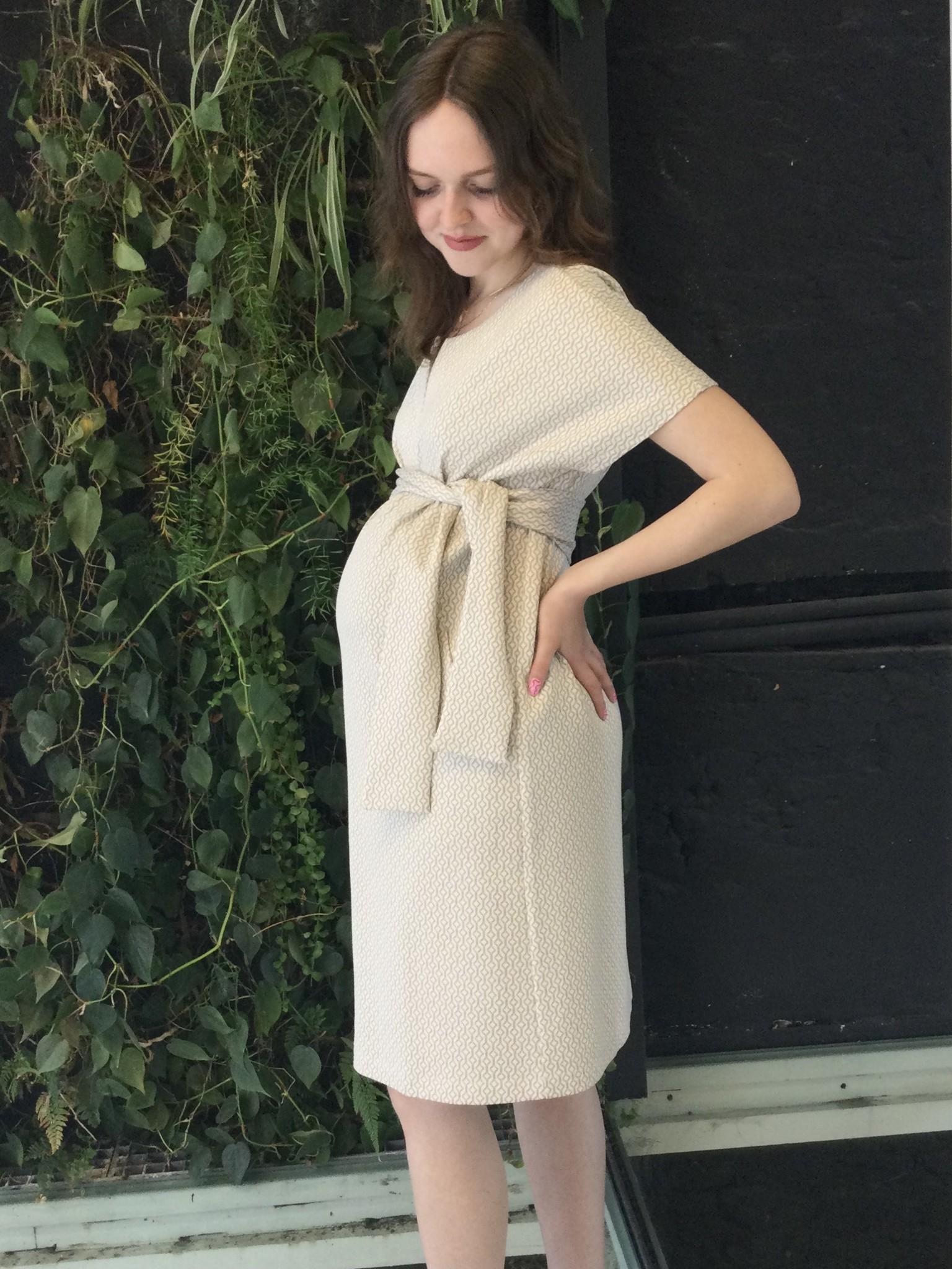 Belt Dress Ecru Pattern-1