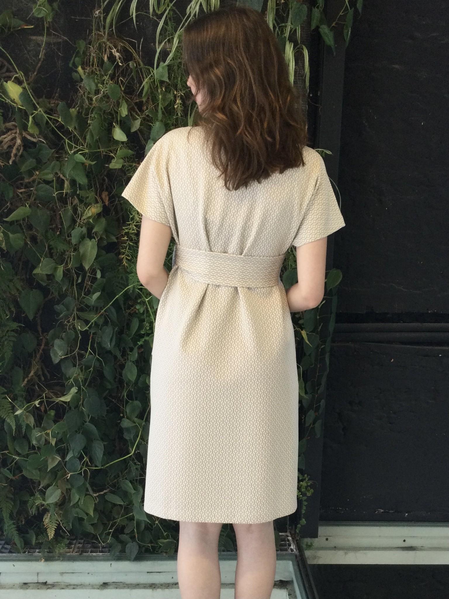 Belt Dress Ecru Pattern-2