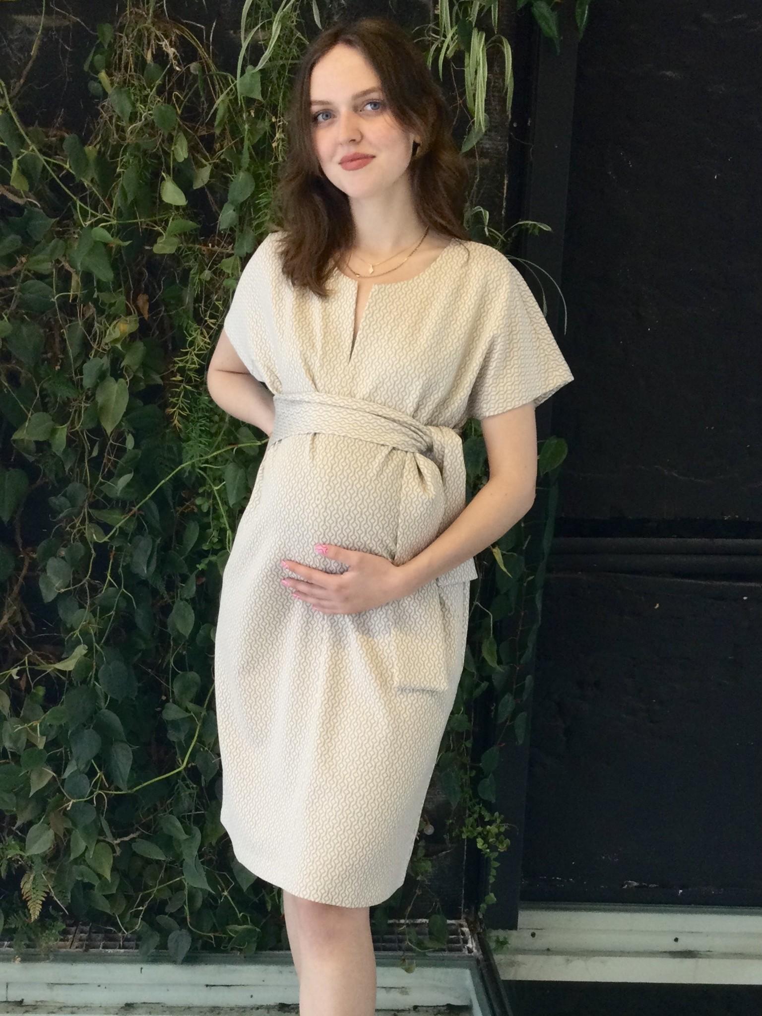 Belt Dress Ecru Pattern-3