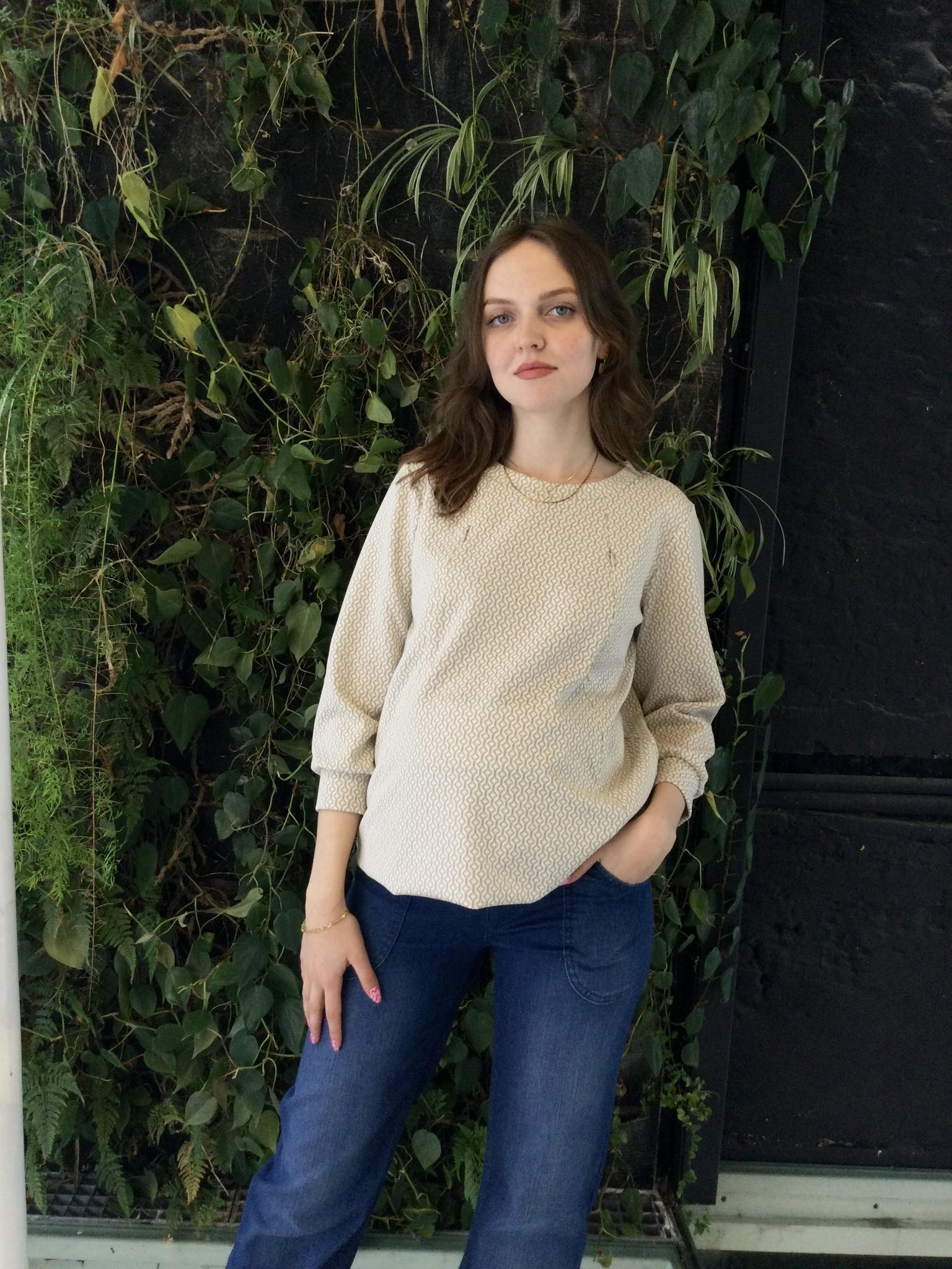 Zip Sweater Ecru Patterns-1