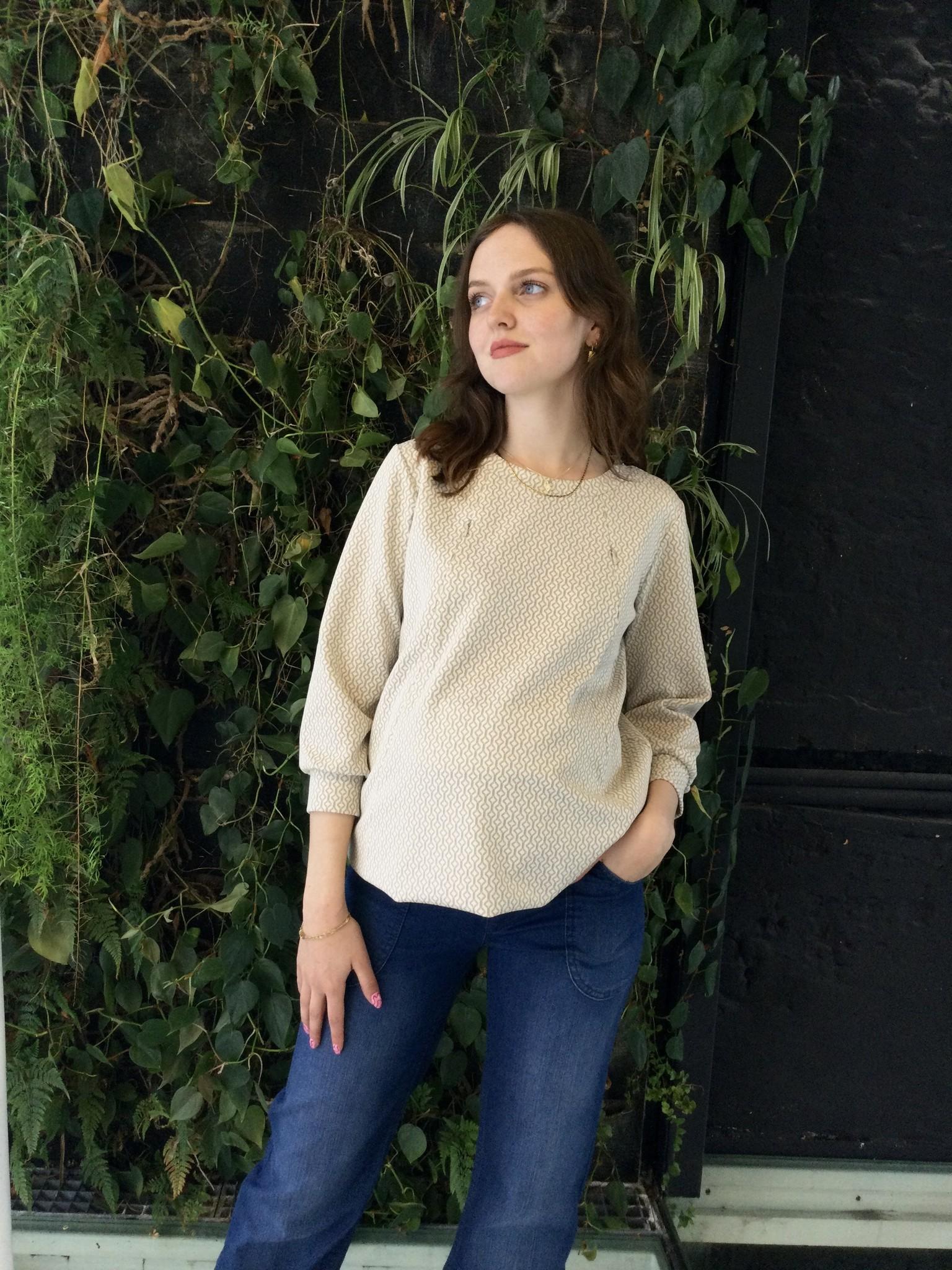 Zip Sweater Ecru Patterns-4