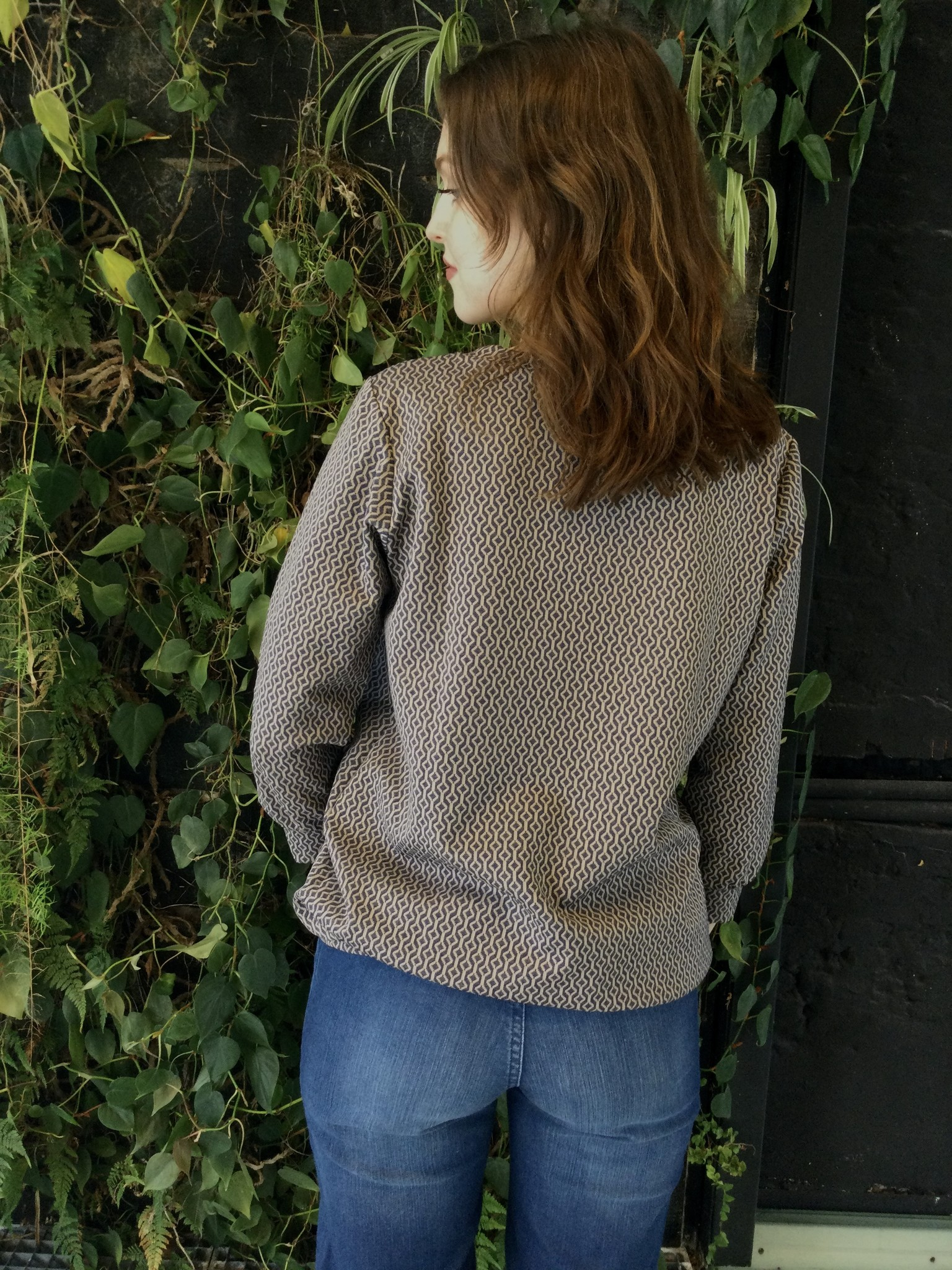 Zip Sweater Navy Patterns-3