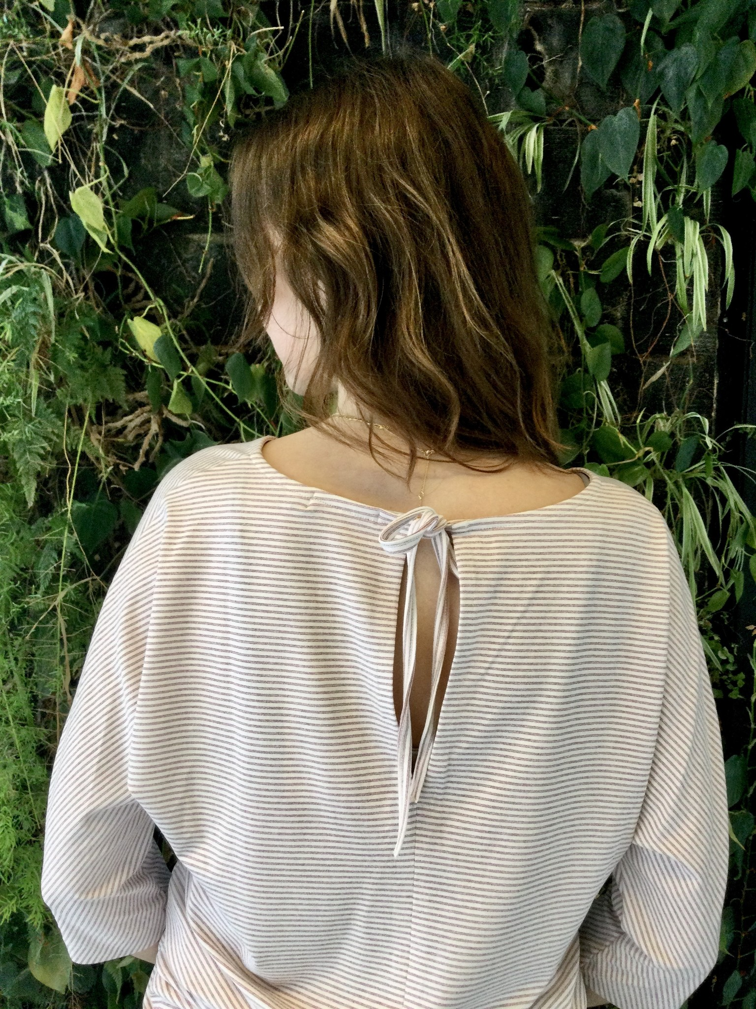 Tied Back T-Shirt Pink/ White Fine Lines-3