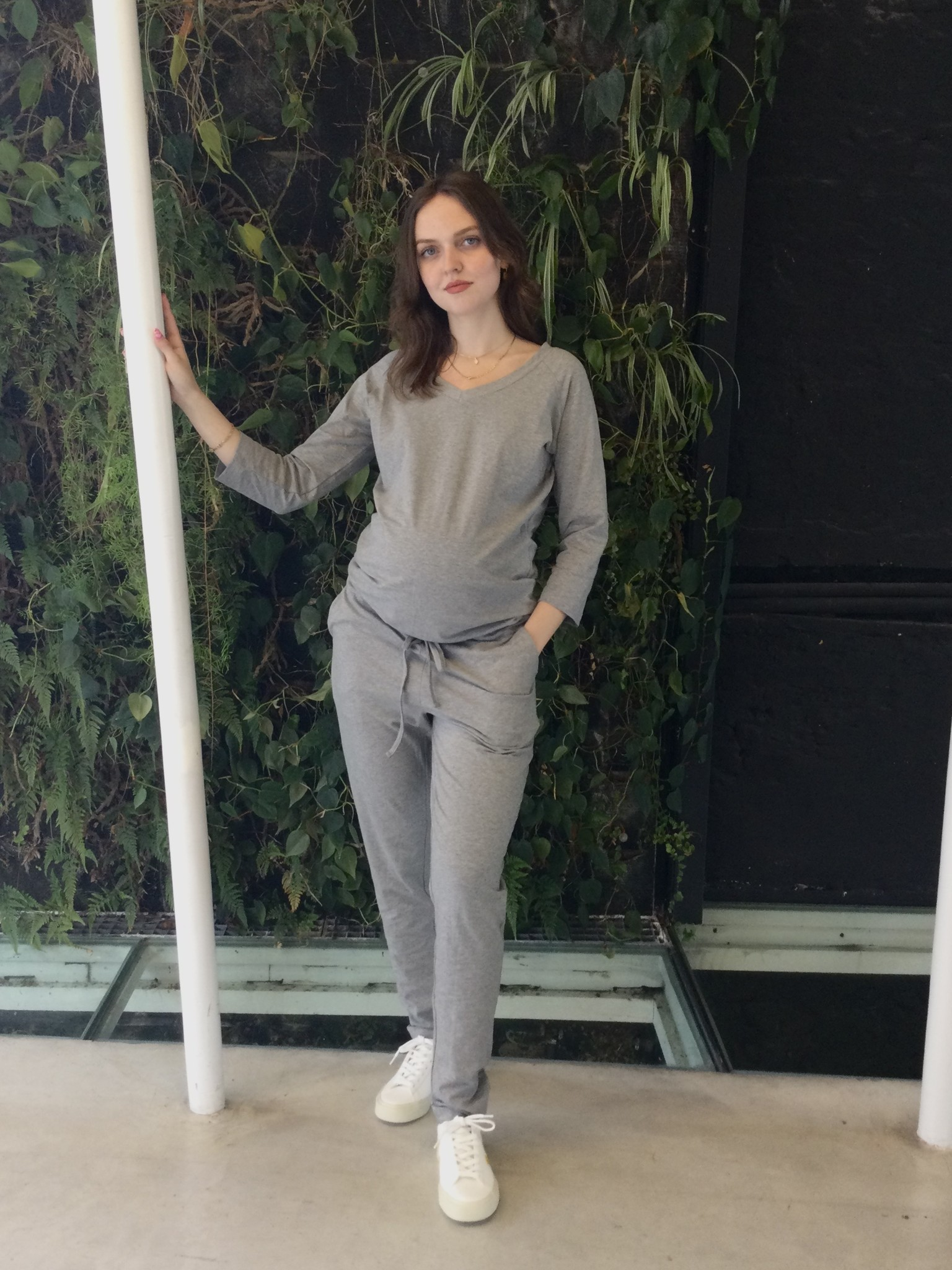 V-neck jumpsuit - grey melange-2