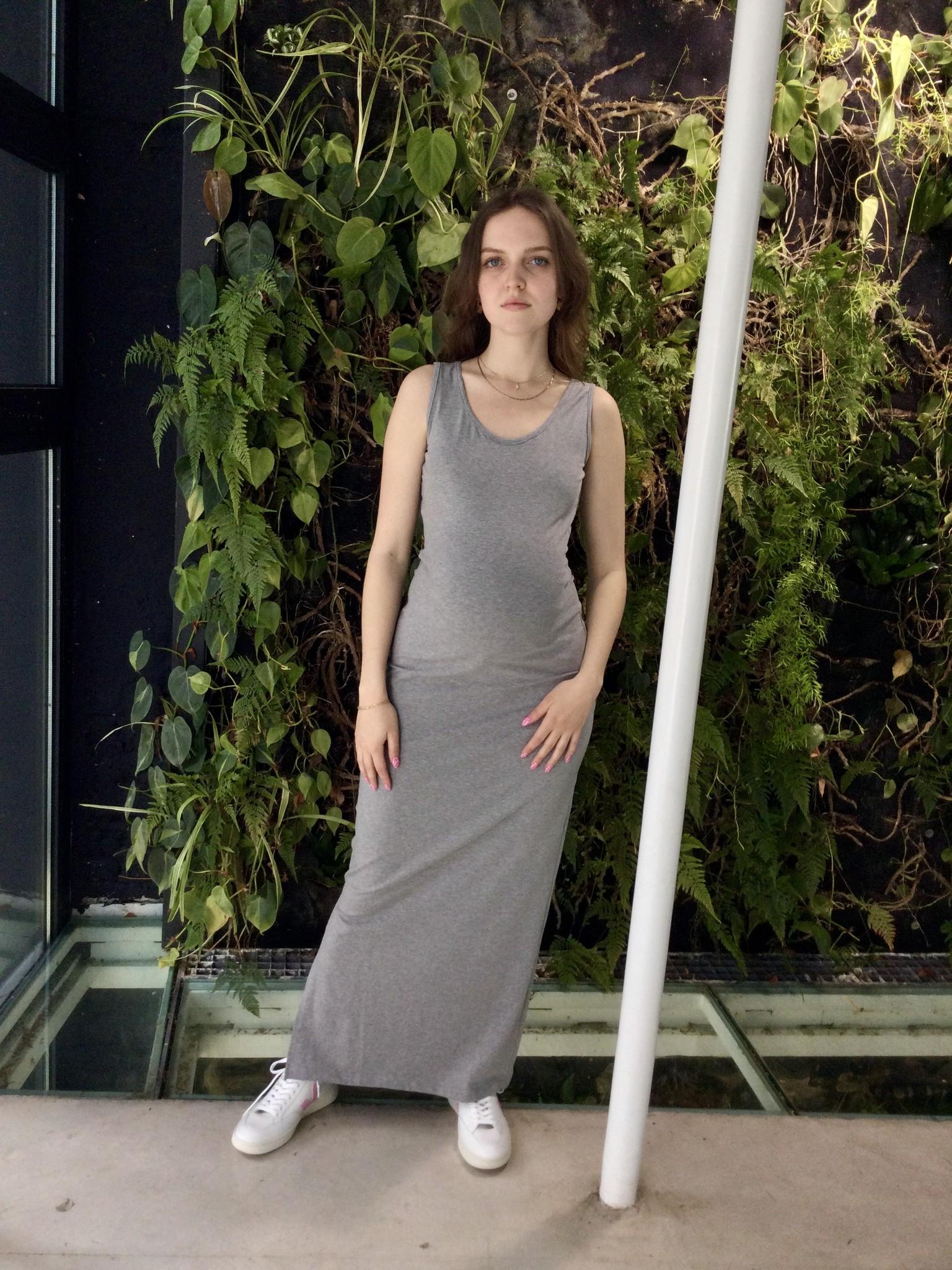 Long Cotton Dress Grey Melange-1