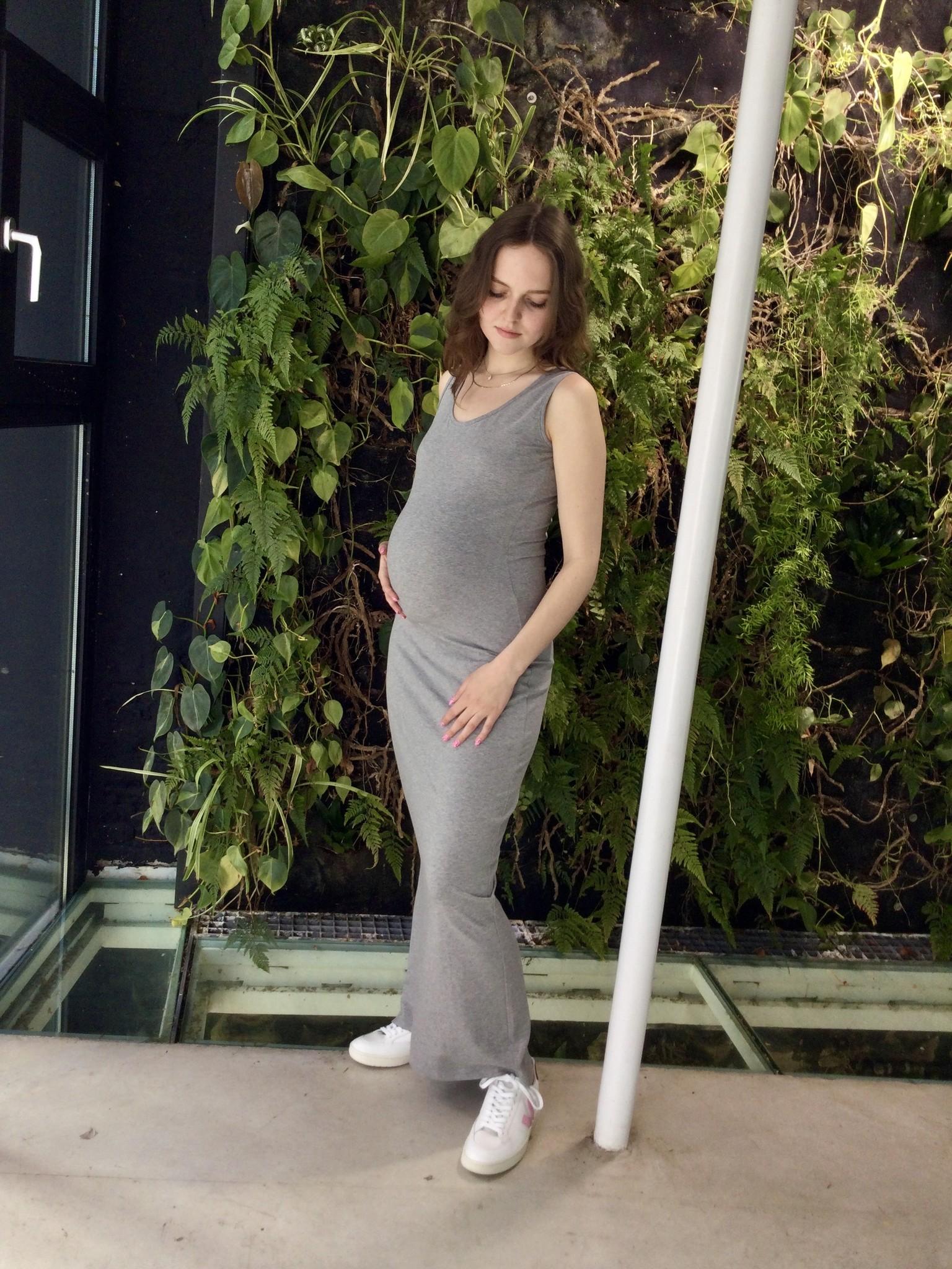 Long Cotton Dress Grey Melange-2