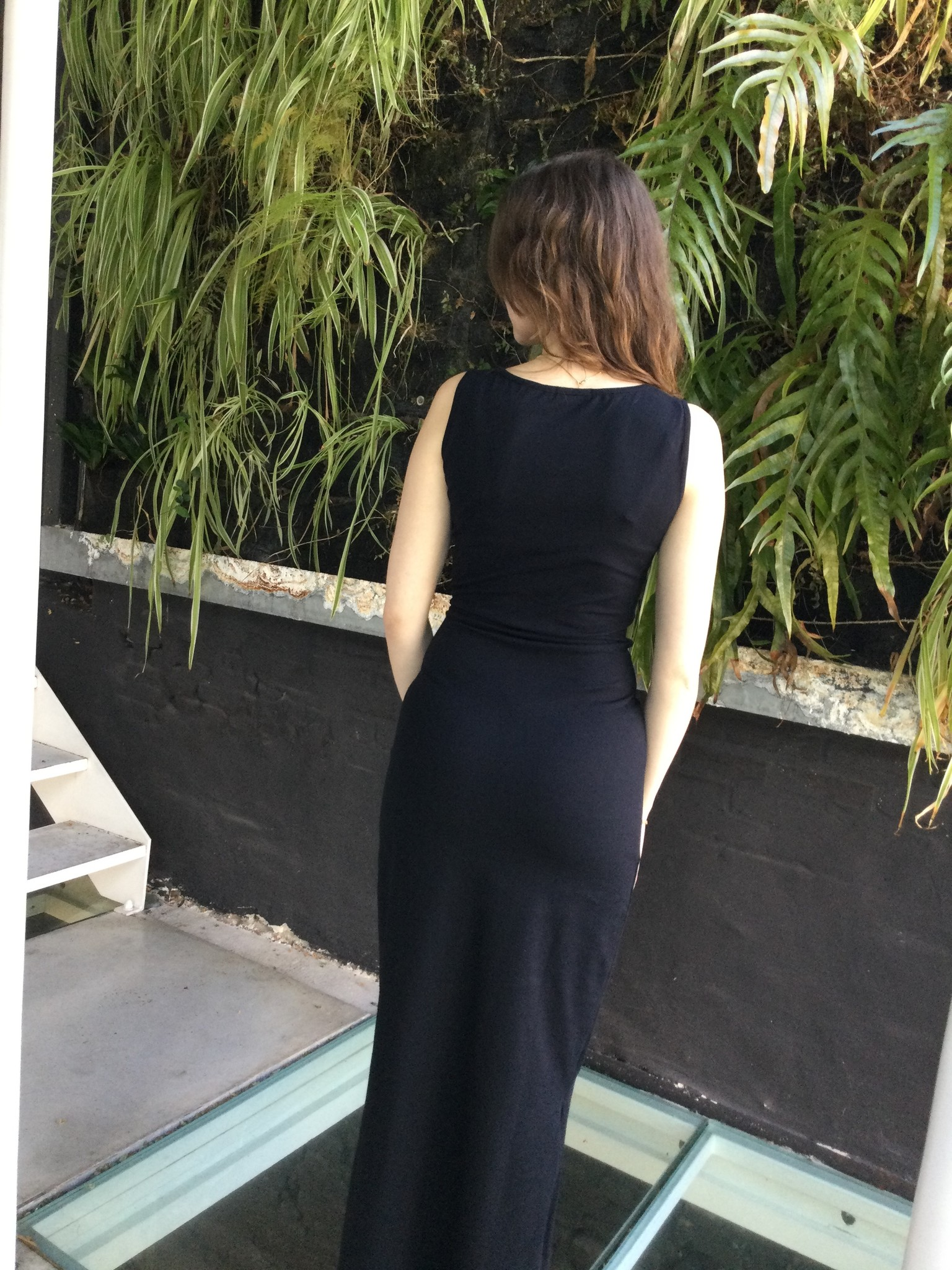 Long Cotton Dress Black-3