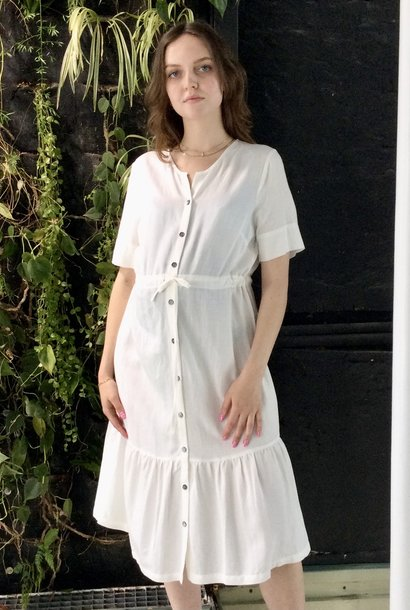 Ruffle Dress White Linen