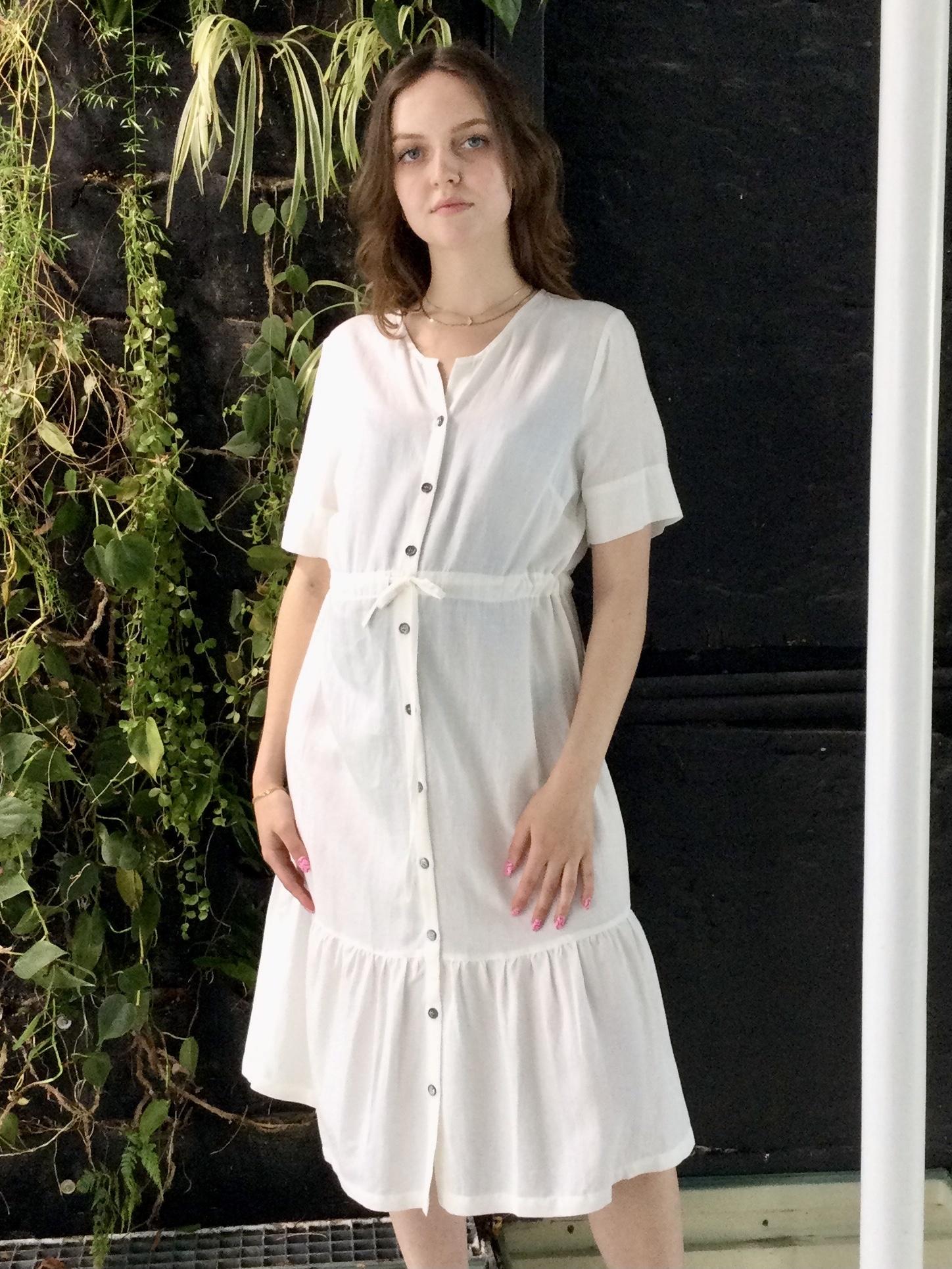Ruffle Dress White Linen-1