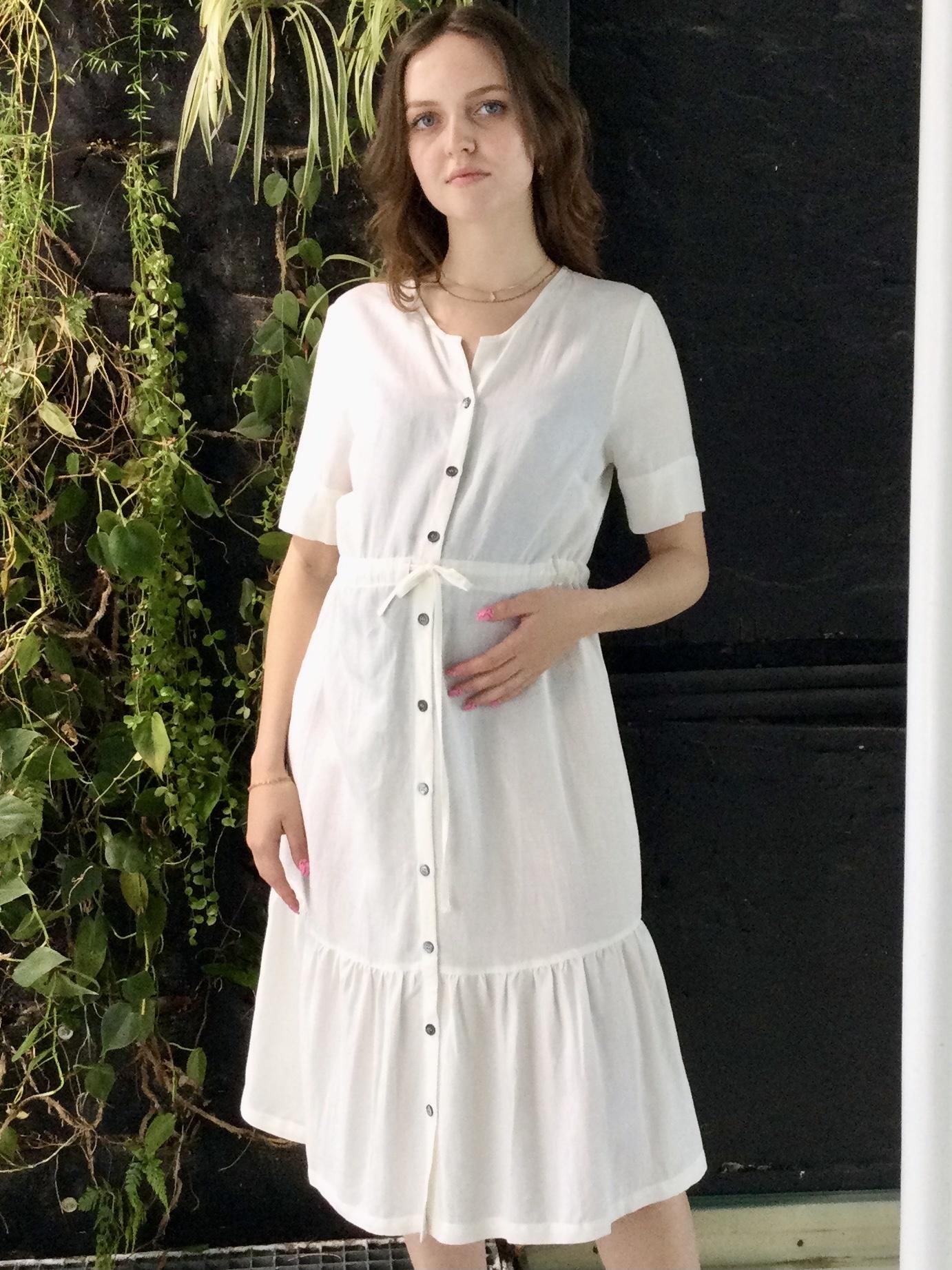 Ruffle Dress White Linen-2
