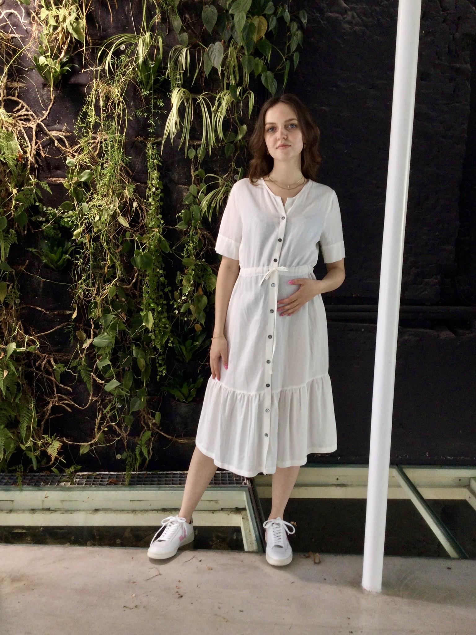 Ruffle Dress White Linen-3