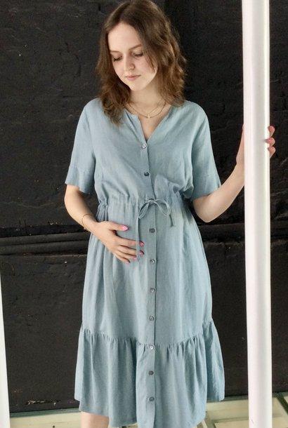 Ruffle Dress Light Linene Misty Blue