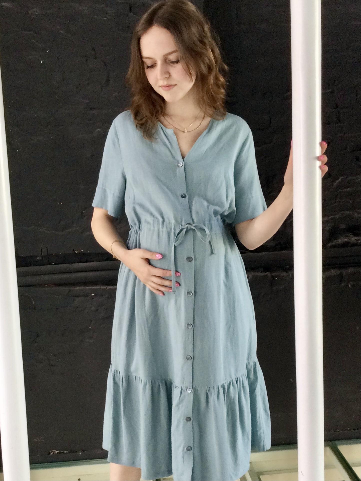 Ruffle Dress Light  Linen Misty Blue-1