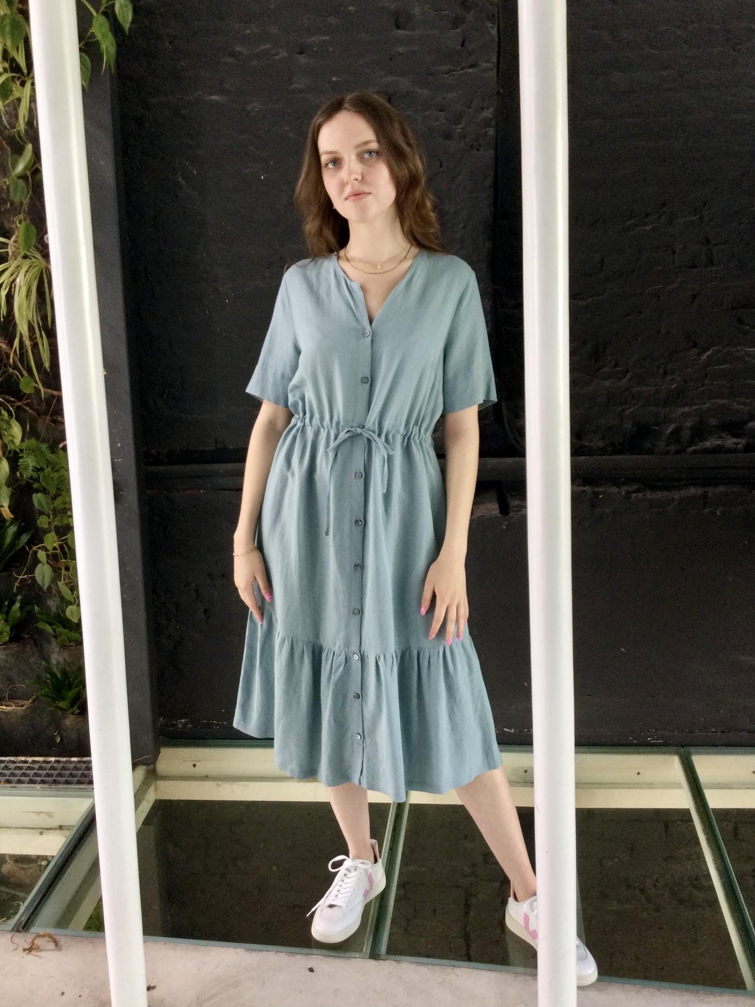 Ruffle Dress Light  Linen Misty Blue-2