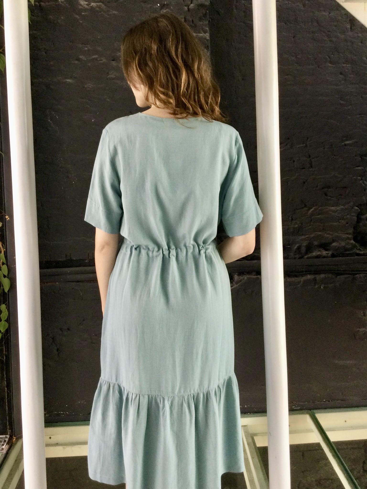 Ruffle Dress Light  Linen Misty Blue-3
