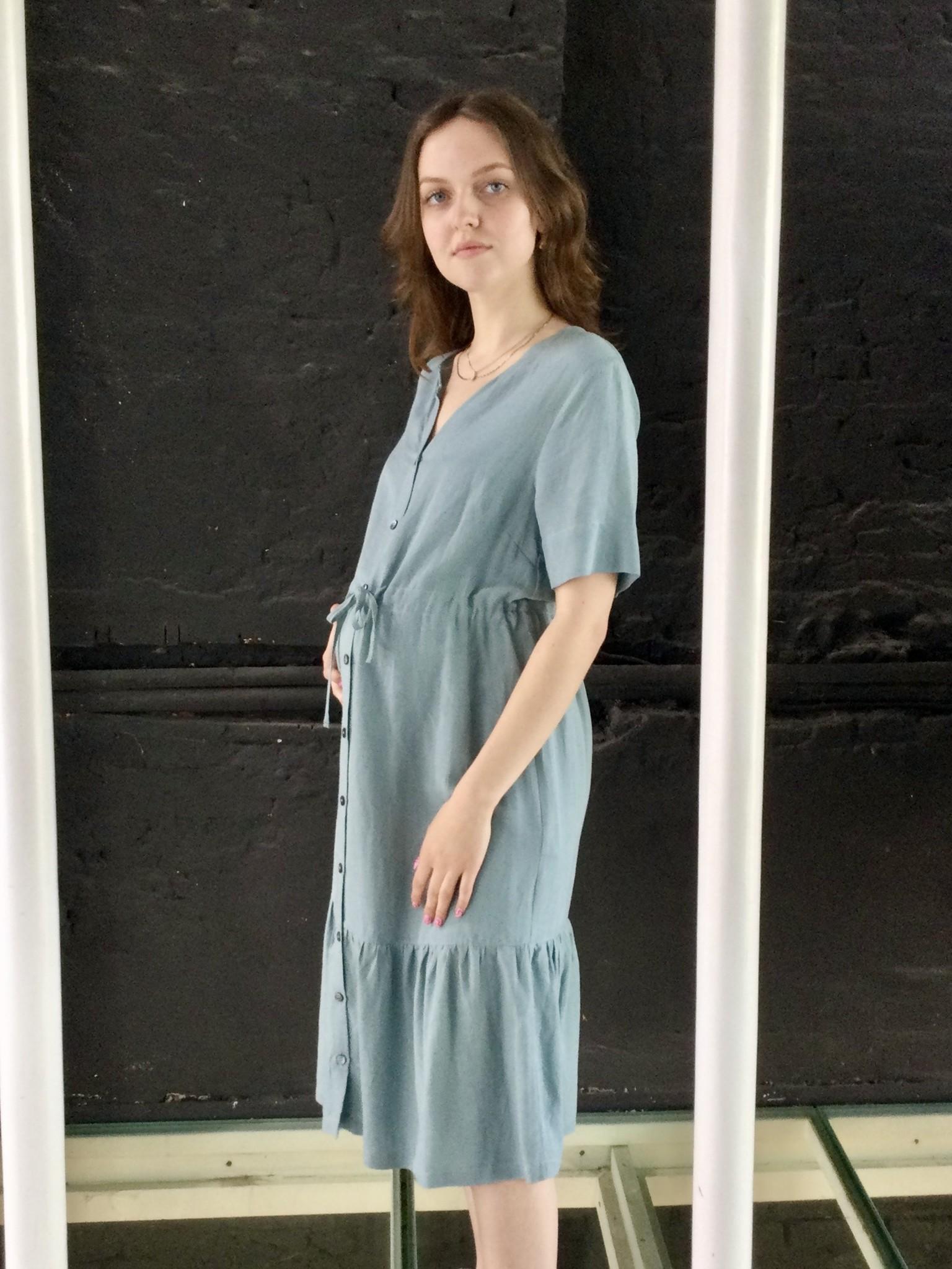 Ruffle Dress Light  Linen Misty Blue-4