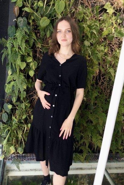 Ruffle dress - black light linen
