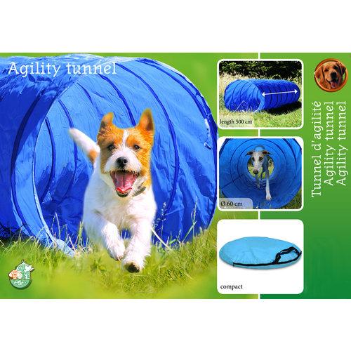 Agility-tunnel nylon 500x60 cm, blauw/zwart.