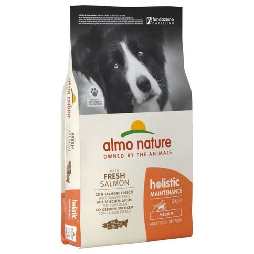Almo Nature AN Holistic Dog M Zalm & Rijst 12 kg.