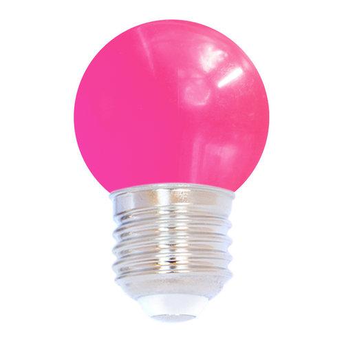 Lampadina LED colorata, 1 watt, rosa, Ø45