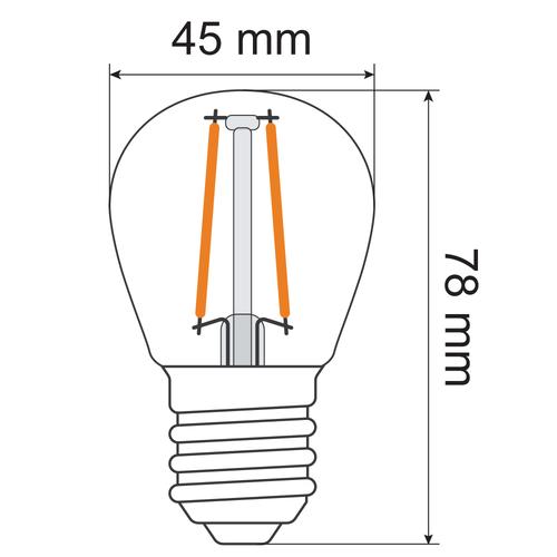 Lampada a filamento da 2,5W e 4,5W, 2700K, vetro trasparente Ø45 - dimmerabile
