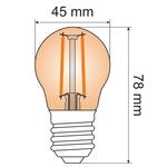 Lampada a filamento da 2,5W e 4,5W, 2000K, vetro ambra Ø45 - dimmerabile
