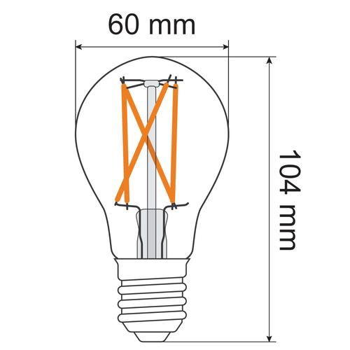Lampada a filamento 9W, 2200-2700K, vetro trasparente Ø60, dim-tiepido