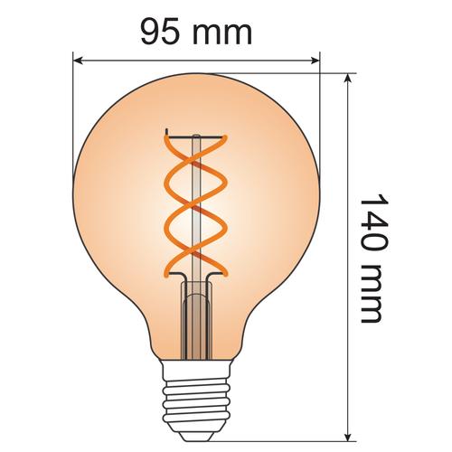 Lampada a spirale DNA 5W XL, 1800K, vetro ambra Ø95 - dimmerabile
