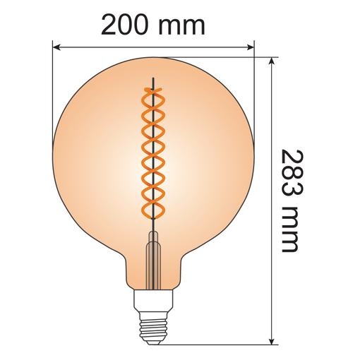 Lampada spirale DNA 8,5W XXXL, 2000K, vetro ambra Ø200 - dimmerabile