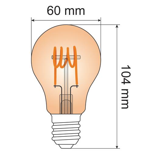 Lampada spirale orizzontale 5W, 1800K, vetro ambra Ø60 - dimmerabile