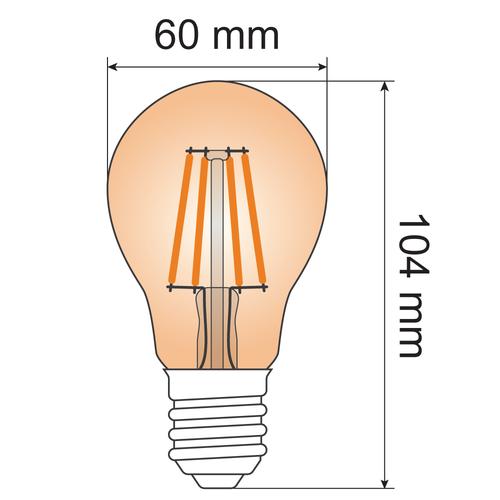 Lampada a filamento 7W, 2000K, vetro ambra Ø60 - dimmerabile