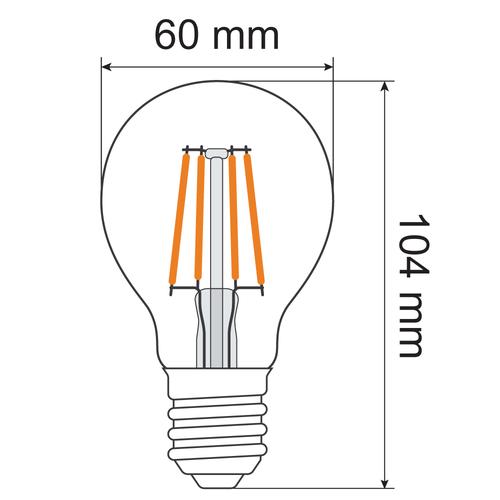 Lampada a filamento 4,5W e 7W, 2700K, vetro trasparente Ø60 - dimmerabile