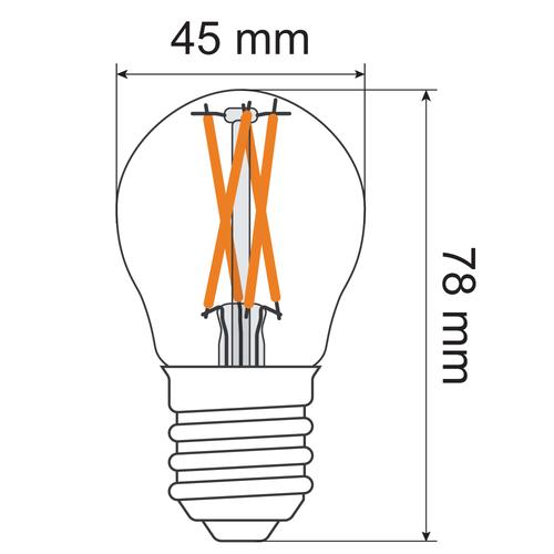 Lampada a filamento 4,5W, 2200-2700K, vetro trasparente Ø45, dim-tiepido
