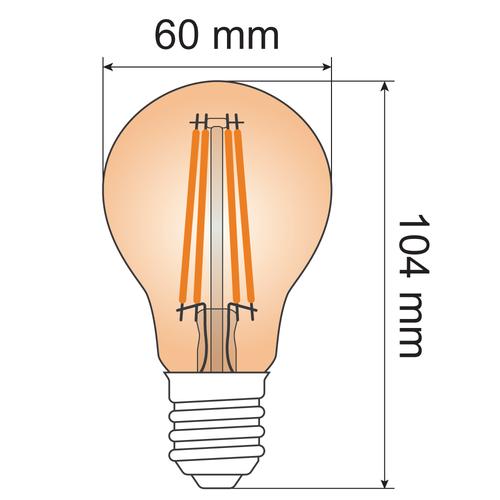 Lampada a filamento 10W, 2000K, vetro ambra Ø60 - dimmerabile