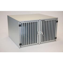 Hundos  Pro  Aluminium Autobench Recht Model Dubbel 100x110x67 met spijlen