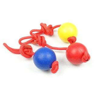 KLD  Hondenspeelgoed rubber bal met Nylon Handvat 50mm