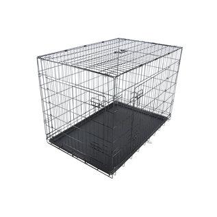 KLD Hondenbench zwart met benchverkleiner L 107x69x76 cm.