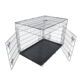 KLD Hondenbench zwart met benchverkleiner XL 121x74x80 cm.