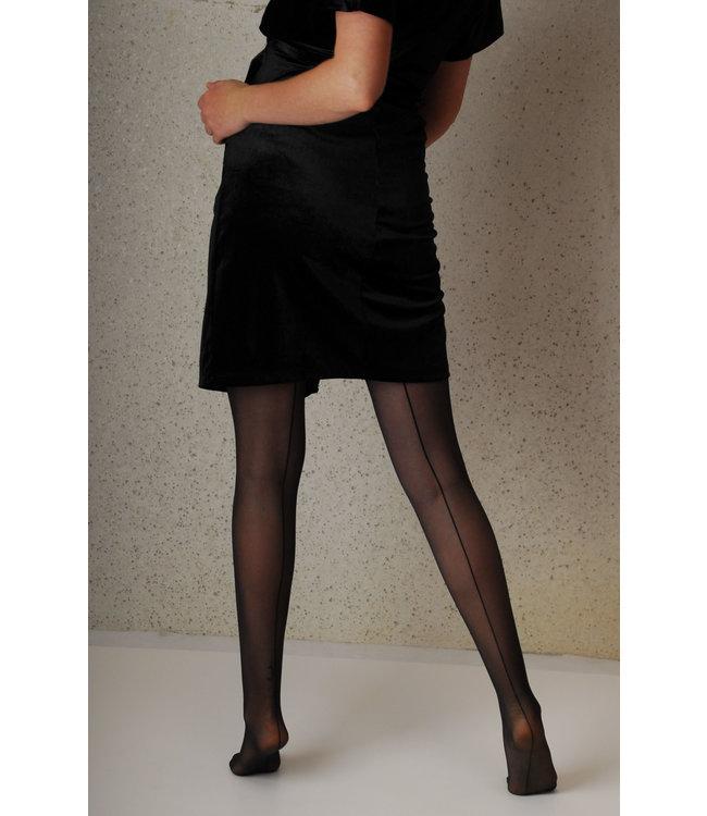 Mamsy Komfortabel Transparant Umstands-strumpfhose 20den Schwarz  mit  Rücknaht-Muster