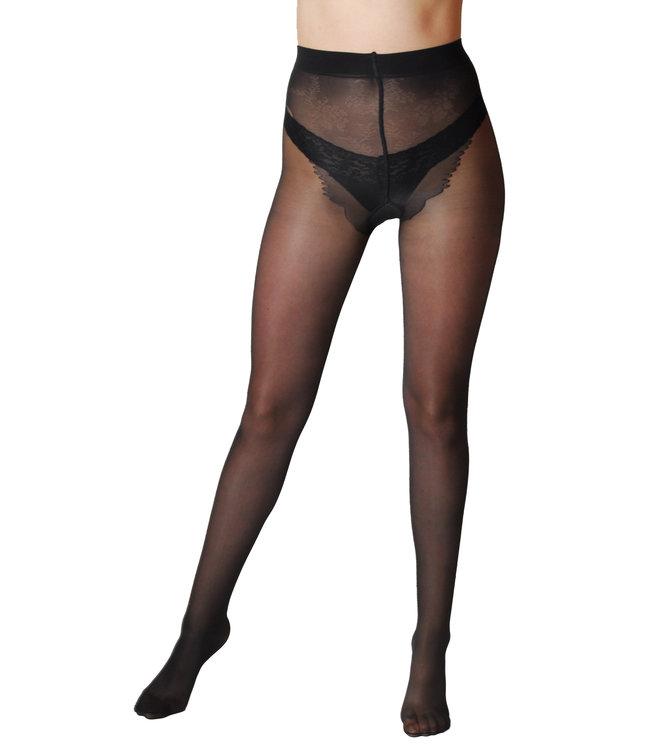 Ibici Gold 40den DERM Tights with Shaping Bikini Panty - Black