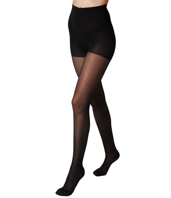 Segreta 140 Young  Sheer Panty sterke Compressie met Shape Up broekje - Zwart