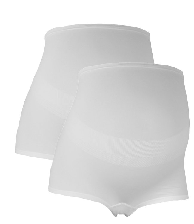 Mamsy Duo Pack Maternity BOXERSHORTS with shapewear-effect White