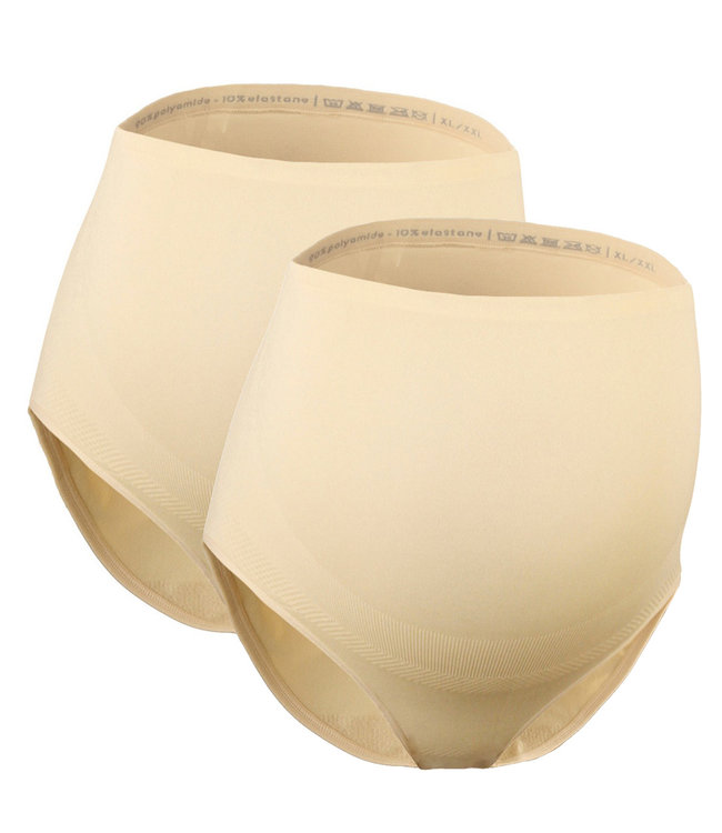 Mamsy Duo Pack Maternity BRIEFS with shapewear-effect Beige