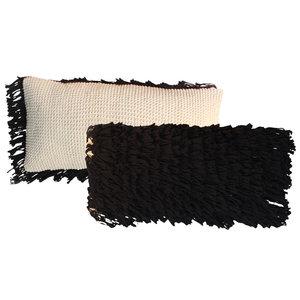 The Macrame Fringed Cushion naturel black