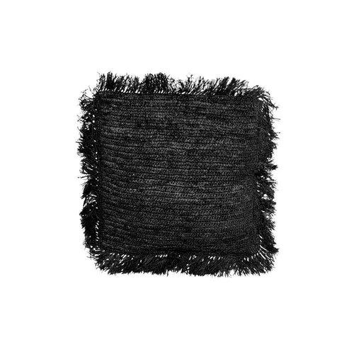 The Raffia Cushion Square - Black - M