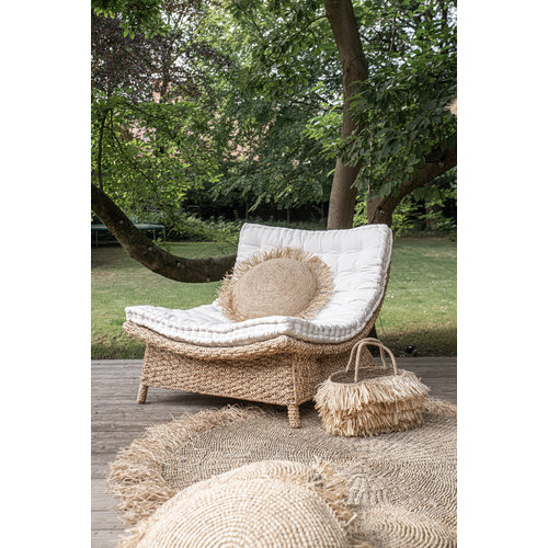 The Raffia Cushion Round - Natural - L
