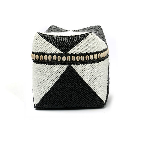 The Beaded Basket Cowrie Diamond High - Black White - L