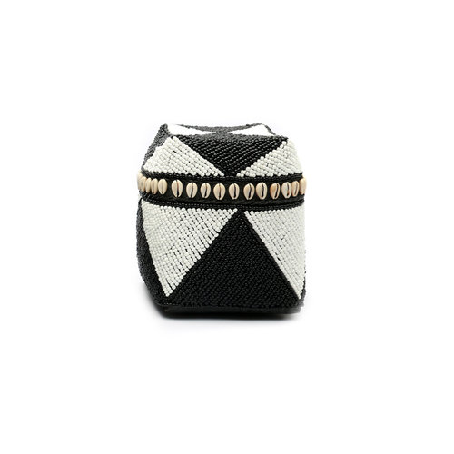 The Beaded Basket Cowrie Diamond High - Black White - S